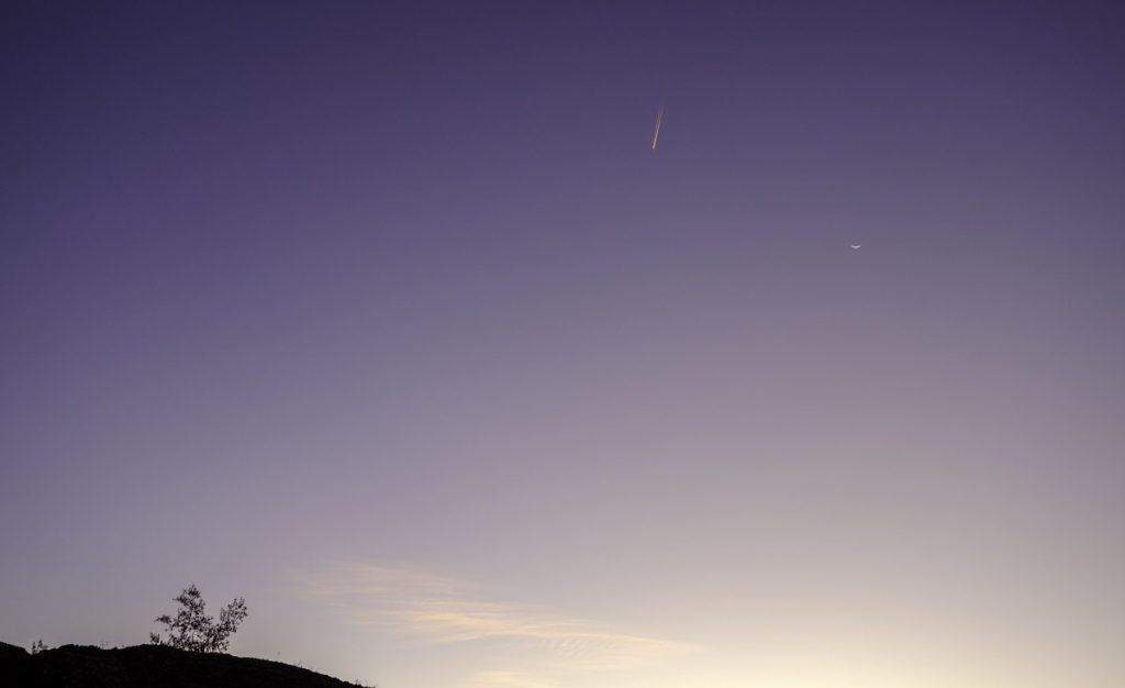 "image ""Morning Sliver Moon Jet in the Desert"""