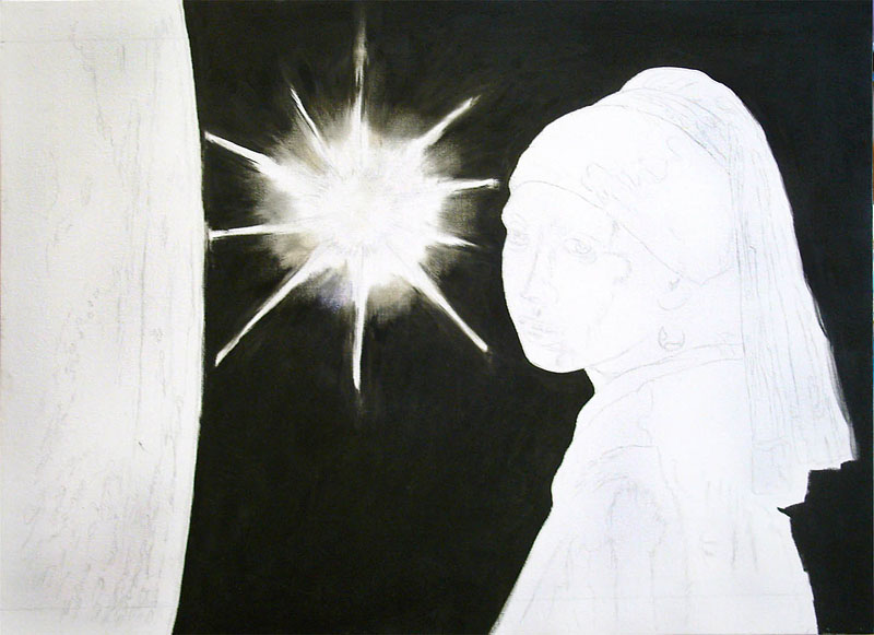"Stage 1 Painting in the ""sky"" – the background of space."