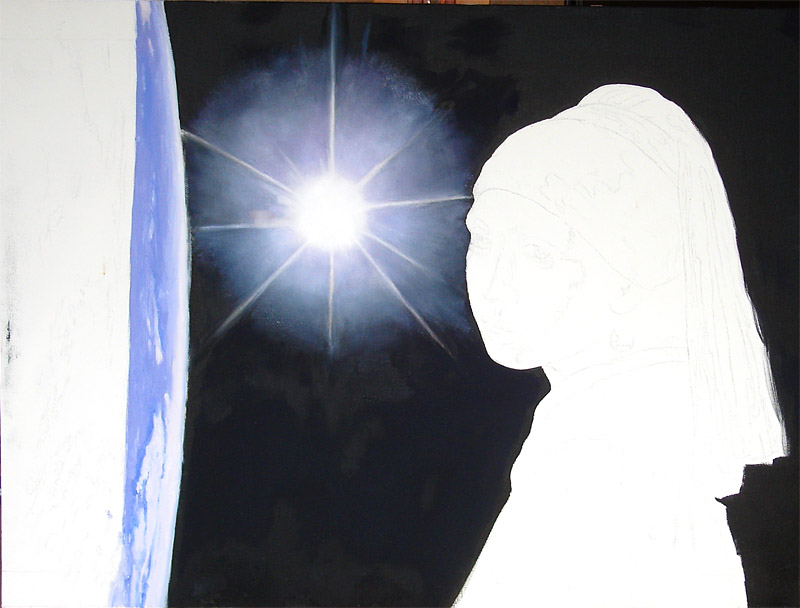 Stage 3 Starting to paint the Earth, more work on the sun.
