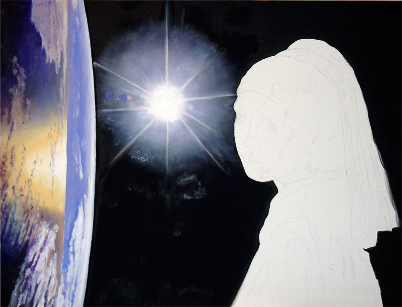 Stage 4 Completing the Earth. The Earth was the fun and relatively easy part of this painting. More work on the sun – highlights...