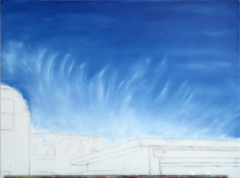 Stage 2 Beginning of sky. A blue underlayer and first attempts at clouds, wet on wet.