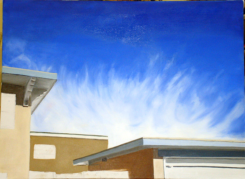 Stage 3 Blocking out areas of color in the buildings. The first layer. trying to get the sky more the way I wanted it.