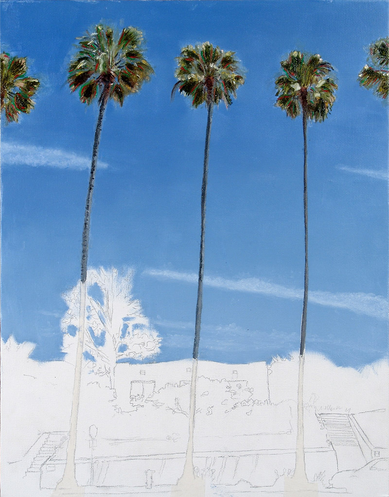 Stage 1 Draw the outlines, Paint the sky and clouds. Work on the tall palms. I experimented with doing some Wayne Thiebaud-type color highlights in the palm leaves, partly in order to capture some of that wonderful sparkling fresh sense of light one gets looking at these palms in the sun, glittering in the breeze.