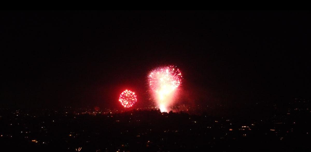 Aerial Shot of Neighborhood Fireworks ©2020 Eric Platt